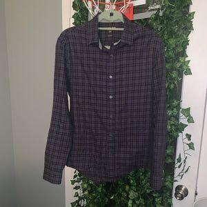 Slim Fit Michael Kors Purple Plaid Shirt Small